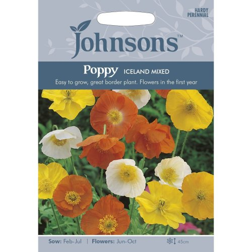 Johnsons Seeds - Pictorial Pack - Flower - Poppy Iceland Mixed - 2000 Seeds