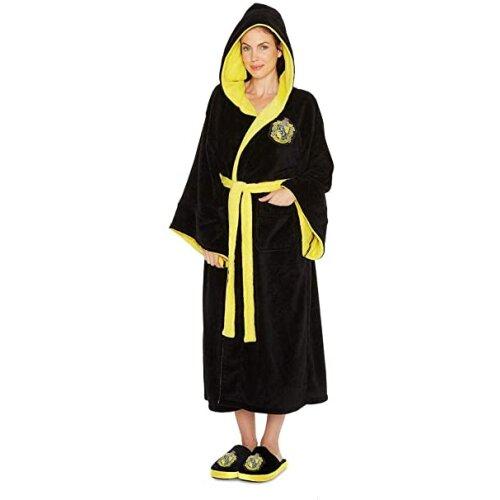 Ladies Harry Potter Hufflepuff Fleece Bathrobe 91932 Black