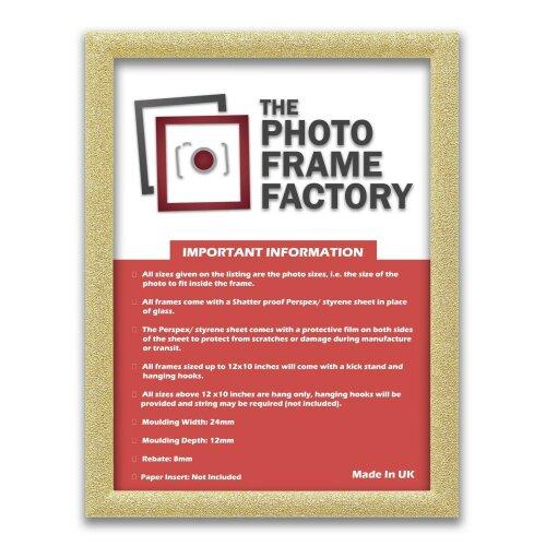 (Gold, 100x70 CM) Glitter Sparkle Picture Photo Frames, Black Picture Frames, White Photo Frames All UK Sizes