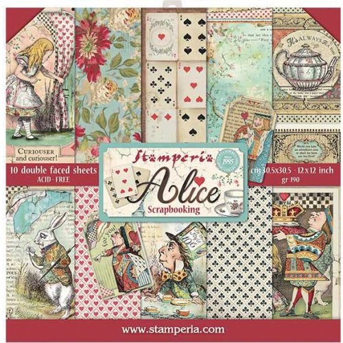 """Stamperia Double-Sided Paper Pad 12""""X12"""" 10/Pkg-Alice, 10 Designs/1 Each"""