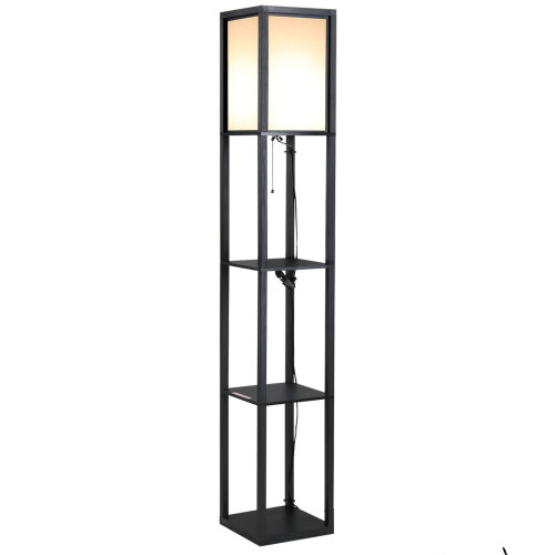 HOMCOM Floor Lamp Reading Lamp with 3-Tier Storage Shelf for Home Office