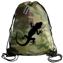 Camouflage Gecko drawstring bag, Swimming bag, Camping Bag