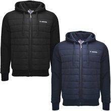 Lambretta Mens Baffle Long Sleeve Zip Up Quilted Body Winter Hoodie Jacket Coat