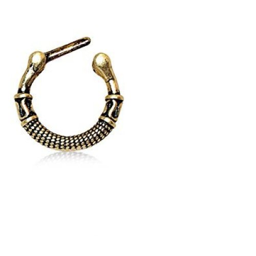 Greek Inspired Antique Gold Plated Septum Ring Clicker On Onbuy