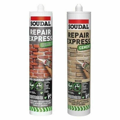 (300ml) Soudal Repair Express Cement Gap and Crack Filler Mortar Masonry Beige Grey