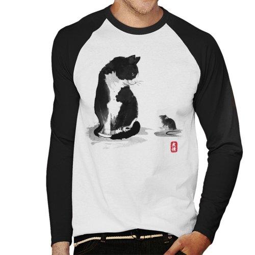 Cat And Little Mouse Japan Men's Baseball Long Sleeved T-Shirt