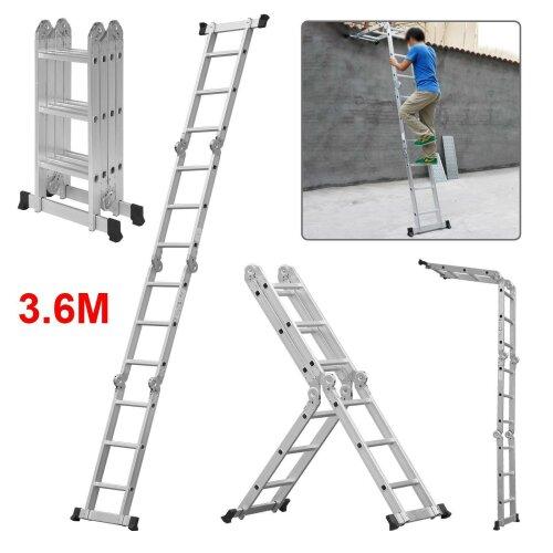 3.6M Multi-Purpose Folding Telescopic Ladder Step Ladder Extendable UK