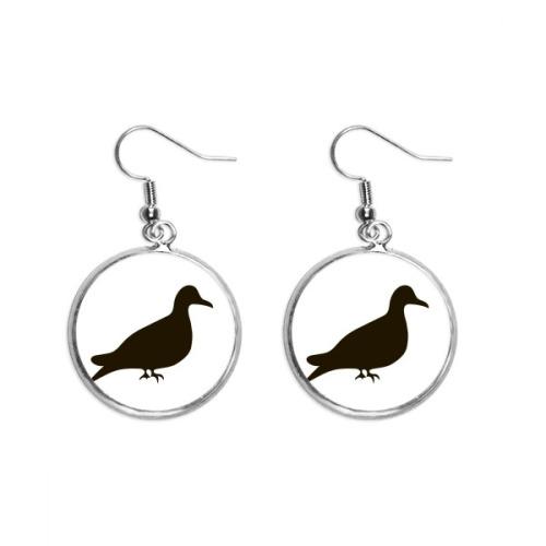 Black Pigeon Animal Portrayal Ear Dangle Silver Drop Earring Jewelry Woman