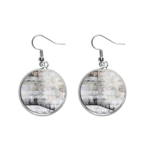 Black White Brick Modern Literature Pattern Ear Dangle Silver Drop Earring Jewelry Woman