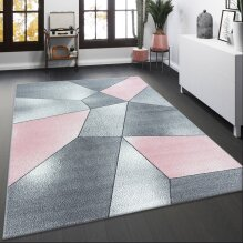 Blush Pink Grey Rug Pastel Geometric Carpet Large Small Living Room Bedroom Area Mat