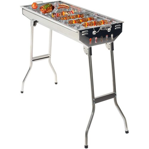 GRANDMA SHARK BBQ Grill, Stainless Steel Barbecue Grill with Stand, Foldable and portable outdoor charcoal bbq, suitable for 5-10 People