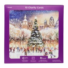 WHSmith London Ice Skaters Charity Christmas Cards In Single Design (Pack Of 10)
