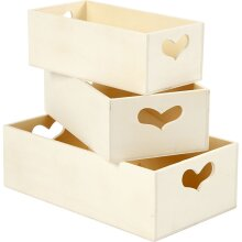 Practical storage boxes of wood, with heart handles Set of 3