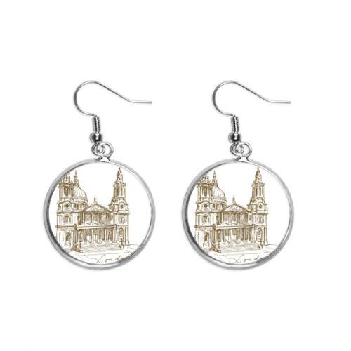 St.Paul's Cathedral England London Ear Dangle Silver Drop Earring Jewelry Woman