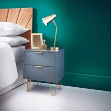 Embossed Loft Studio 2 Drawer Bedside Table with Gold Finish Metal Legs Add a Stylish Piece of Furniture To Your Bedroom - Grey