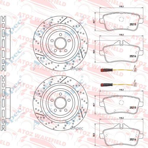FOR MERCEDES GLE63 ML63 GL63 AMG REAR BRAKE DISCS MINTEX PADS WIRE SENSORS 345mm