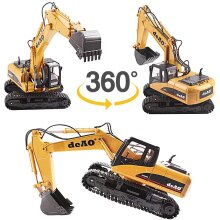 deAO 1:14 15 Channel 2.4GHz Remote Control Fork and Bucket Excavator Construction Digger Truck for Kids Teens and Adults