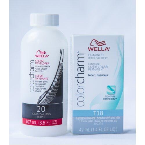 Wella Color Charm T18 Permanent Liquid Hair Toner and 20 Vol. Developer