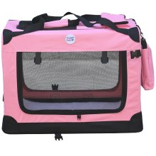 HugglePets Fabric Crate Foldable Pet Carrier - Pink, Medium
