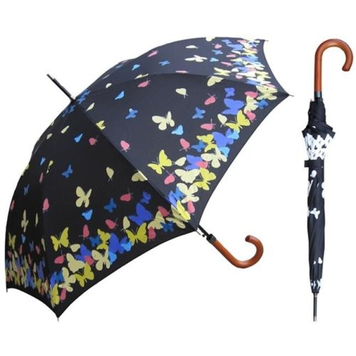 RainStoppers S013BUT 46 in. Auto Open Color Changing Butterfly Print Umbrella, 6 Piece