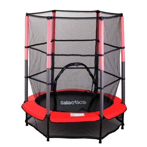 GALACTICA Childrens Mini Trampoline With Safety Net 4.5FT Kids Rebounder Red