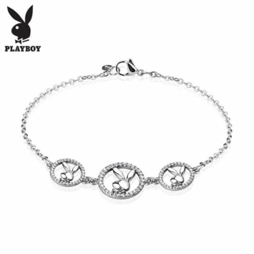 Three Round Multi Paved Gemmed Playboy Bunny Logo Stainless Steel Chain Bracelet