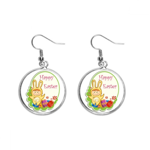 Happy Easter Yellow Bunny Child Egg Culture Ear Dangle Silver Drop Earring Jewelry Woman
