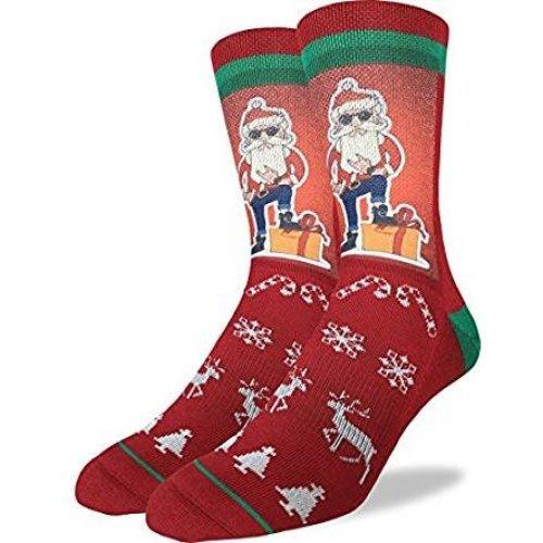 Socks - Good Luck Sock - Men's Active Fit - Hip Santa (8-13) 4077