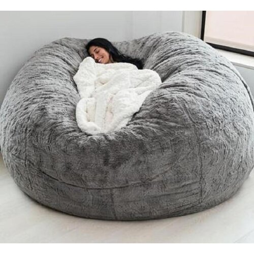 Soft Bean Bag Sofa Cover Living Room Furniture Party Leisure Giant Big Round Fluffy Faux Cushion Bed