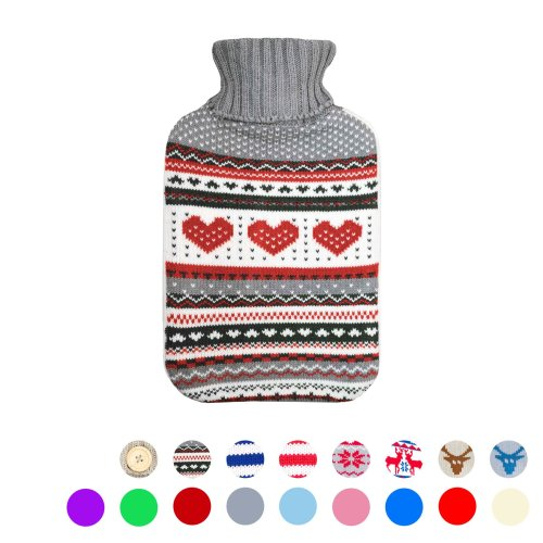 Hot Water Bottle Large Full Size with Luxury Knitted Warm Faux Covers Bed Warmer[Red / Grey Hearts]