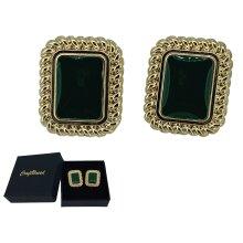 Craftuneed women retro green resin gemstone rectangle shape stud earrings
