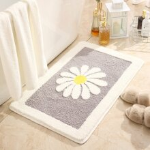 Daisy Flower Bath Mat Water Absorption Non slip Super Soft  Machine Washable  Rugï¼grey 40x60CM)