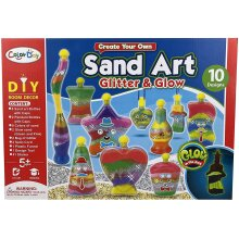 Trading Innovation Kids Sand Art Kit | Includes 10 Unique Designs, 8 Colour of Sand, 2 Glow In Dark Sand | Perfect Craft Gift for Boys & Girls