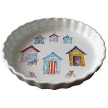 Beach Hut 25cm Ceramic flan Quiche Dish