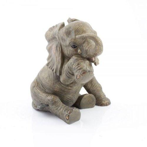 15Cmresin Baby Elephant Sitting Teardrop Home Decoration Ornament Figurine