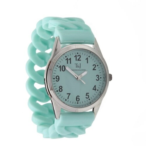 (Turquoise) Silicone Stretch Band Watch