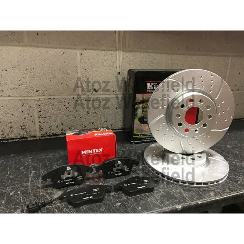 FOR AUDI A3 2003- FRONT DIMPLED GROOVED PERFORMANCE BRAKE DISCS & MINTEX PADS