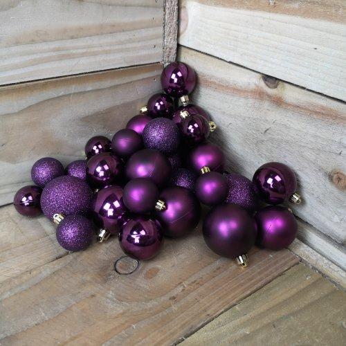 Assorted Shatterproof 30 Christmas Shiny Matte Glitter Violet Baubles