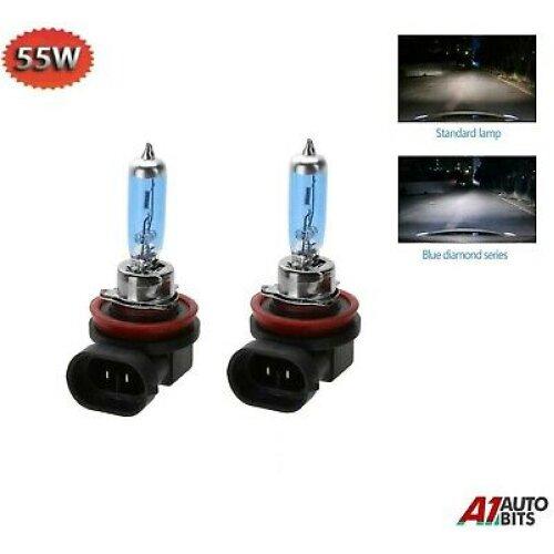 2x H11 6500k 55w Fog Light Blue Bulbs Hid Look Xenon White Super Colour Uk Stock