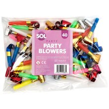 40pk Party Blowers   Colourful Party Whistles Blowouts