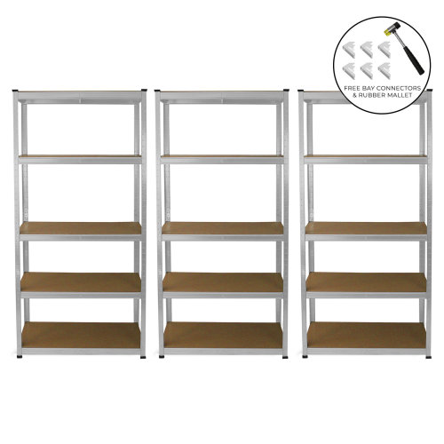 3 Garage Shelving Units 5 Tier Racking Storage Warehouse Bays Industrial Heavy Duty Boltless Galvanised Steel Shelves / FREE Rubber Mallet & Bay Connectors