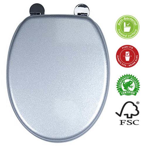 Croydex Silver Quartz Glitter Effect Anti Bac Toilet Seat