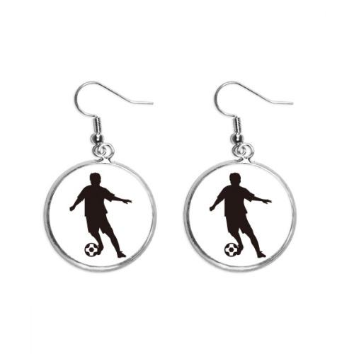 Soccer Sports football FSilhouette Ear Dangle Silver Drop Earring Jewelry Woman