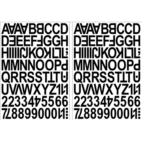 (Black) Alphabet Letters & Numbers Stickers Label Peel Off Sticky 2.5cm High Mixed