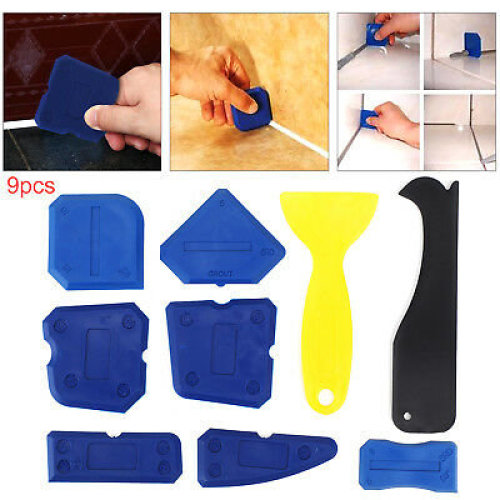 New 9Pcs Silicone Sealant Spreader Profile Applicator Tile Grout Tools
