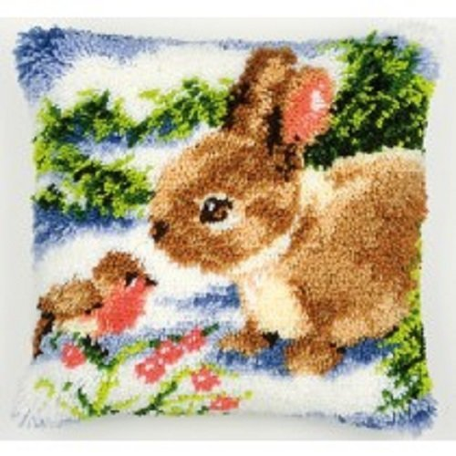 """Latch Hook Complete Cushion Cover Kit""""Spring Rabbit and Robin"""" 43x43cm"""