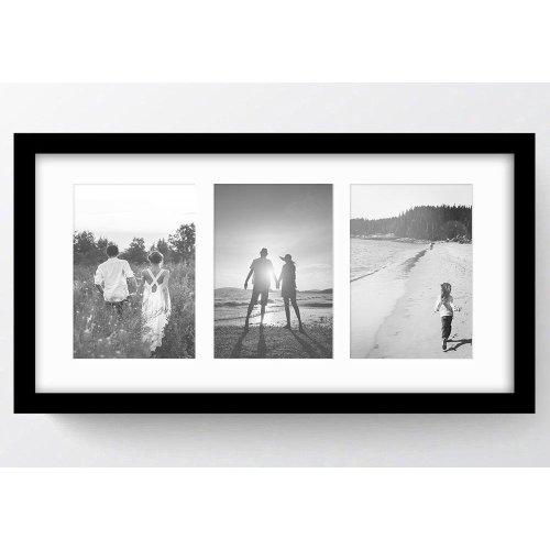"21x11""/3 7x5"" Multi Oxford Black Photo Frame with Soft Cream Mount- Glass Window"