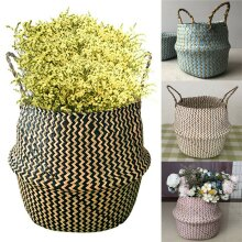 Seagrass Woven Belly Basket Plant Flowers Pot Storage Laundry Bag Home Decor