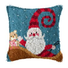 """Latch Hook Complete Cushion Cover Kit""""Fun Father Christmas""""43x43cm"""