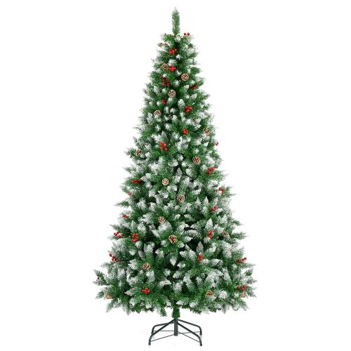 (7ft) Artificial Christmas Tree Snow Frosted With Cones Berries 5ft 6ft 7ft Christow